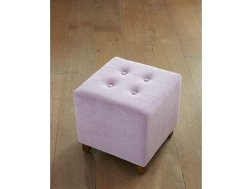 Samthocker Quadrat - one size - Flieder - Bezug: gepolsterter Polyester-Samt, Gestell & Füße: Holz