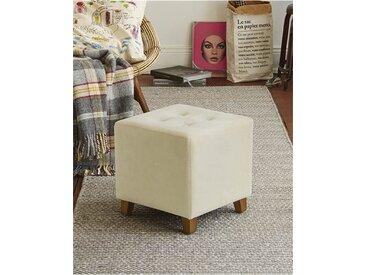Samthocker Quadrat - Uni - Creme - Bezug: gepolsteter Polyester-Samt, Gestell & Füße: Holz