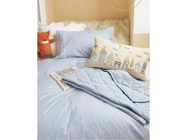 Kinderbettwäsche hellblau - 135cm x 100cm - Blau/Hellblau/Weiß - 100 % Baumwolle
