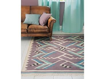 Teppich Art déco - 200cm x 140cm - Bunt - 80 % Wolle/20 % Baumwolle
