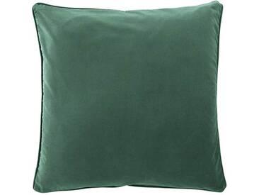 Samtkissenhülle efeugrün - 40cm x 40cm - Grün/Dunkelgrün - 100 % Baumwolle