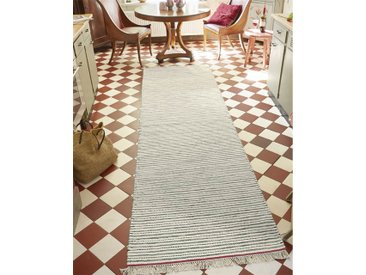 Teppichläufer roter Rand - 300cm x 85cm - Rot/Grau/Schwarz/Weiß/Wollweiß/Offwhite - 80 % Wolle, 20 % Baumwolle