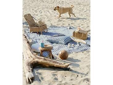 Tagesdecke Picknick - 240cm x 180cm - Blau/Weiß - 100 % Baumwolle