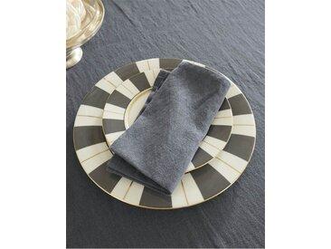 Serviette dunkelgrau - 40cm x 40cm - Anthrazit/Grau - 70 % Baumwolle, 30 % Leinen