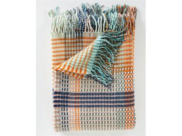 Wolldecke blau-orange-rosa kariert - one size - bunt - 100 % Wolle