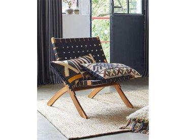 Klappsessel schwarz - one size - Braun/Schwarz - Sitzfläche: Nylon, Gestell: Akazienholz