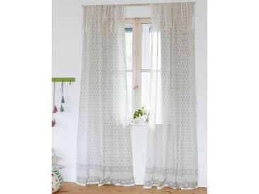 Vorhang Grey Bhuti - 240cm x 140cm - Grau/Weiß - 100 % Baumwolle