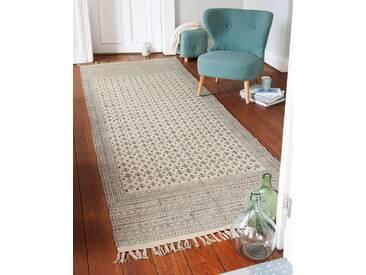 Teppichläufer Samana - 300cm x 110cm - Schwarz/Weiß - 100% Baumwolle