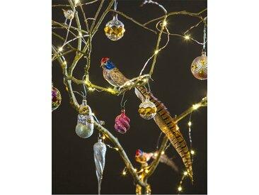 Weihnachtsschmuck Vogel mit Fasanenfeder - one size - bunt - Glas, Feder