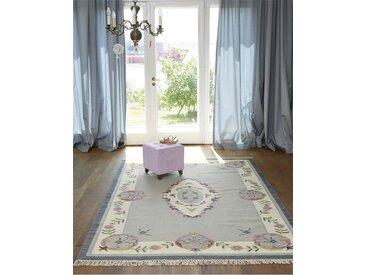 Teppich Clichy - 230cm x 160cm - Anthrazit/Blau/Dunkelgrün/Flieder/Grau/Hellgrün/Lila/Pastellviolet/Violett/Weiß/Ocker/Mint - 80 % Wolle, 20 % Baumwolle