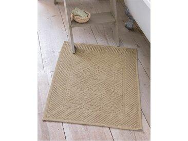 Badvorleger klein gemustert - 60 x 110 - Natur - 100 % Baumwolle