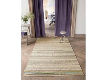 Streifenteppich bunter Rand - 230cm x 160cm - Bunt/Natur - 60 % Wolle, 20 % Leinen, 20 % Baumwolle.