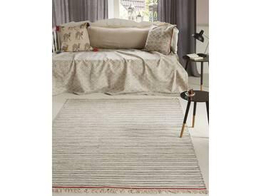 Streifenteppich roter Rand - 200cm x 140cm - Rot/Anthrazit/Grau/Schwarz/Weiß/Wollweiß/Offwhite - 80 % Wolle, 20 % Baumwolle