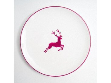 Gmundner Keramik Bordeauxroter Hirsch Speiseteller Cup d: 25 cm / h: 2,8 cm