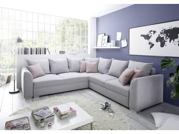 Couch LILLY Sofa Eckcouch Ecksofa Schlafsofa Wohnlandschaft Polsterecke L-Form 274cm silber
