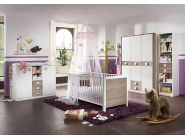 Babyzimmer-Set JALTA 5tlg Bett Wickelkommode Schrank Regal Eiche Sägerau