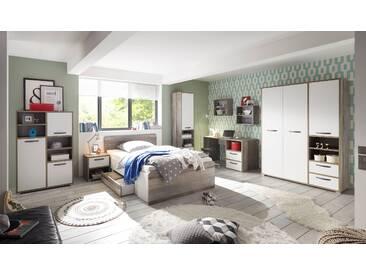 Kinderzimmer-Set MOON Jugendzimmer 7tlg Kleiderschrank Schreibtisch Standregal Kommode Bett Nachttisch weiß Driftwood
