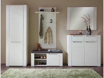 Garderobe DINARO 5-TLG Garderobenschrank Paneel Spiegel Schuhkommode Bank Weiß