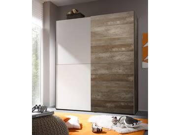 Schwebetürenschrank VICTOR 2 Kleiderschrank Schrank Schlafzimmer Driftwood weiß 170cm