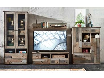 Wohnwand Wohnzimmer-Set BONANZA 5 tlg. Vitrine Kommode TV lowboard TV Tisch Wandregal Couchtisch vintage shabby inkl. Beleuchtung