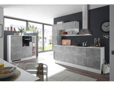 Küche Turn Küchenblock Küchenzeile Komplettküche 260cm Singleküche Miniküche Kleinküche grau beton