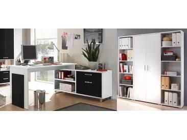 Büromöbel-Set MANAGER Schreibtisch Büroeinrichtung Eckschreibtisch Büro / Farbe: Weiß Schwarz