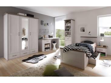 Kinderzimmer-Set LUCA Jugendzimmer 5tlg Kleiderschrank Bett Nachttisch Schreibtisch Standregal Pinie weiß