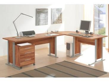 Eckschreibtisch OFFICE LINE Winkelschreibtisch Schreibtisch Rollcontainer Büro / Farbe: Walnuss