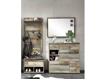 Garderobe BONANZA 4-TLG Paneel Spiegel Schuhkommode Bank Driftwood Nachbildung