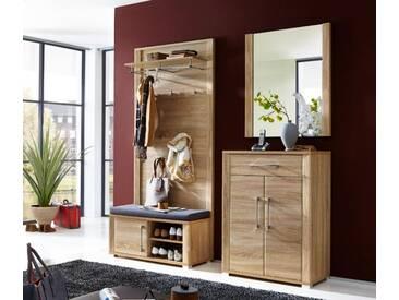 Garderobe GO 4-tlg Paneel Bank Schuhschrank Spiegel Eiche Sonoma