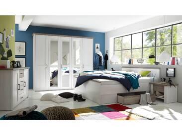 Schlafzimmer Komplett Set 5-tlg. LUCA Bett 180 Schubkasten Kleiderschrank 241 cm Nachtkommoden Kommode Pinie Weiß Trüffel Braun