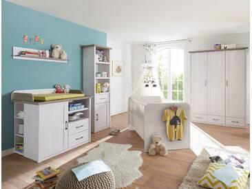Babyzimmer-Set LUCA 5tlg Wickelkommode Babybett Standregal Wandregal Kleiderschrank 3 Türen Pinie weiß