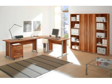 Büromöbel-Set OFFICE LINE Eckschreibtisch Rollcontainer Regalwand Büroeinrichtung Walnuss