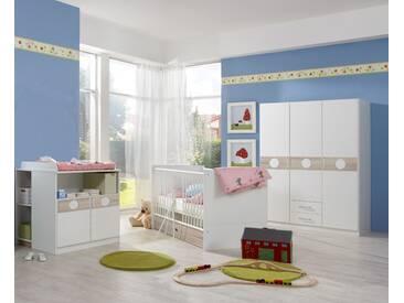 Babyzimmer-Set KIMBA 3tlg Komplett Bett Wickelkommode gr. Schrank Eiche-Sägerau