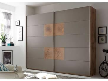 Schwebetürenschrank CAPRI Kleiderschrank Schrank Schlafzimmer grau Wildeiche 270cm