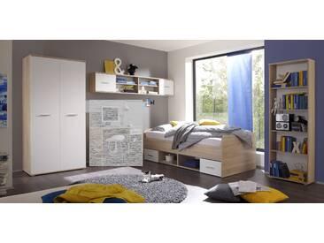 Jugendzimmer-Set NANU 4tlg. Komplettset Bett Schrank Regal Hängeregal Eiche Sonoma Weiß