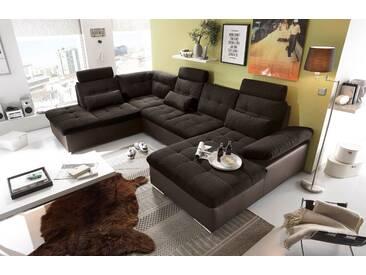 Couch Jakarta Wohnlandschaft Sofa Lederlook Schlaffunktion Schlafsofa braun schwarz Ottomane links 324 cm