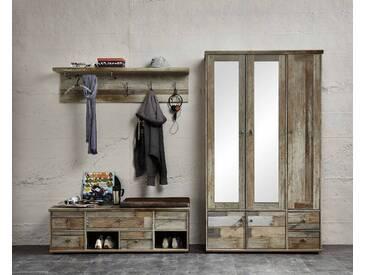 Garderobe BONANZA 3-TLG Garderobenschrank Paneel Bank Driftwood Nachbildung