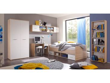Jugendzimmer-Set NANU 5tlg. Komplettset Bett Schrank Regal Schreibtisch Hängeregal Eiche Sonoma weiß