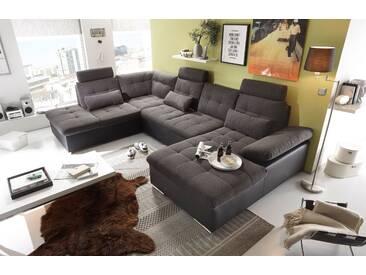 Couch Jakarta Wohnlandschaft Sofa Lederlook Schlaffunktion Schlafsofa schwarz dunkelgrau Ottomane links 324 cm