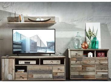Wohnwand Wohnzimmer-Set BONANZA 3 tlg. Kommode TV lowboard TV Tisch Wandregal vintage shabby