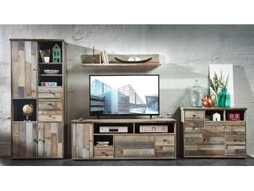 Wohnwand Wohnzimmer-Set BONANZA 4 tlg. Hochschrank Kommode TV lowboard TV Tisch Wandregal vintage shabby
