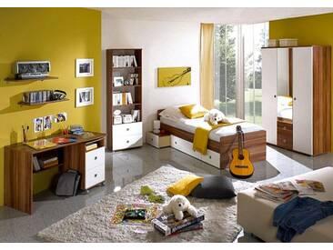 Jugendzimmer-Set WIKI Schreibtisch Bett Regal Schrank 3 trg. Walnuss Nachbildung / Weiß