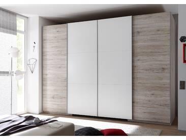 Schwebetürenschrank BIG begehbarer Kleiderschrank Schrank Schlafzimmerschrank 315 x 225 cm Sandeiche Weiß mit Beleuchtung und Dämpfung