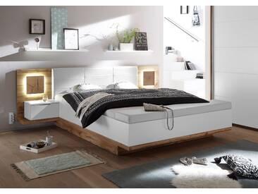 Doppelbett Nachtkommoden CAPRI XL Bett Ehebett Schlafzimmer 180 x 200 weiß Wildeiche