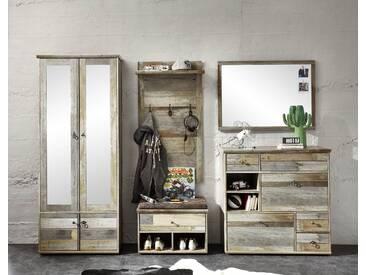 Garderobe BONANZA 5-TLG Garderobenschrank Paneel Spiegel Schuhkommode Bank Driftwood Nachbildung