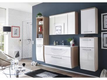 Badezimmer-Komplett-Set MIAMI Badezimmer Set Badmöbel Badezimmermöbel in Sonoma Abs. weiß Hochglanz