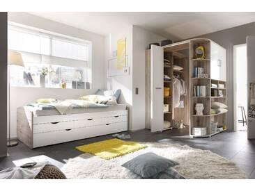 Ausziehbett + Eckkleiderschrank Nessi Bett 90cm Einzelbett Schlafzimmer begehbarer Kleiderschrank 146cm Sandeiche Weiß