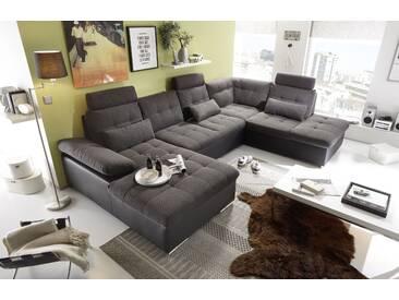 Couch Jakarta Wohnlandschaft Sofa Lederlook Schlaffunktion Schlafsofa schwarz dunkelgrau Ottomane rechts 324 cm