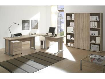 Büromöbel-Set OFFICE LINE Eckschreibtisch Rollcontainer Regalwand Büroeinrichtung Eiche Sonoma